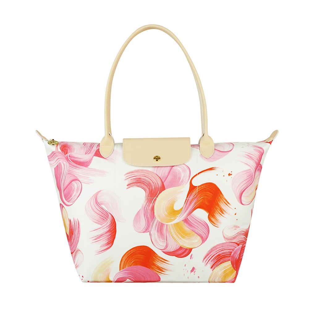 LONGCHAMP SPLASH水花圖案棉質帆布長提把肩背包(大/紅) @ Y!購物