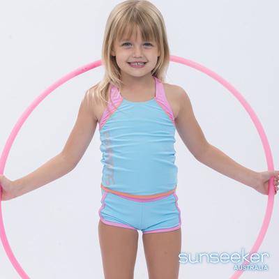 澳洲Sunseeker泳裝小女童抗UV防曬運動兩件式泳衣-水藍