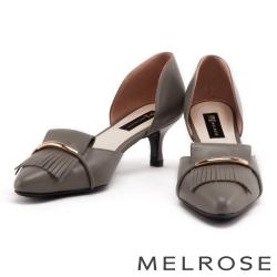 跟鞋 MELROSE 金屬風流蘇造型羊皮尖頭低跟鞋-灰