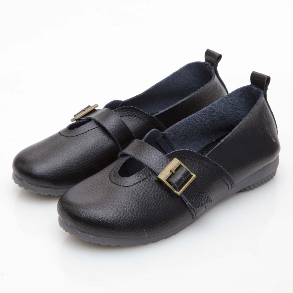 JMS-鄰家女孩俏皮款柔軟牛皮娃娃鞋-黑色