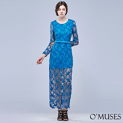 重工蕾絲美背長禮服-OMUSES-動態Show
