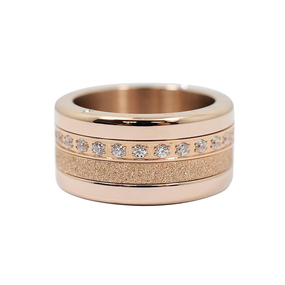 BERING丹麥精品 閃耀璀璨水晶 玫瑰金三環組合戒指