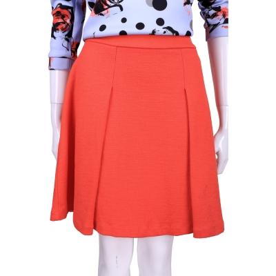 MAX MARA-SPORTMAX 橘紅色抓褶及膝裙