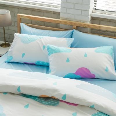 美夢元素 台製天鵝絨-枕套床包三件式-雙人加大 (雨季)