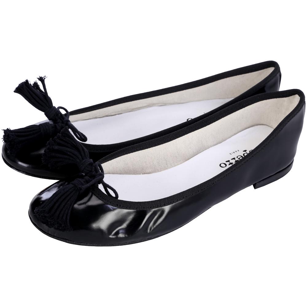 Repetto 黑色亮皮流蘇蝴蝶結飾芭蕾舞鞋