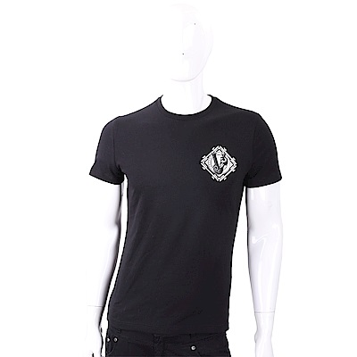 VERSACE VJ 菱型圖騰黑色棉質T恤