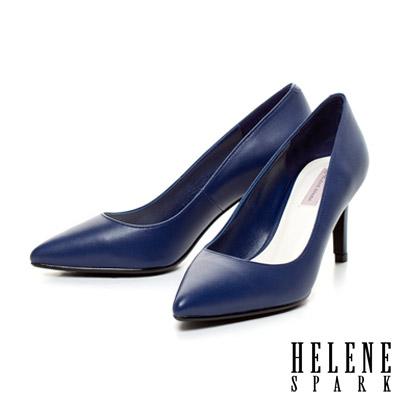 HELENE-SPARK-經典美型時尚尖頭素面羊皮高跟鞋-藍