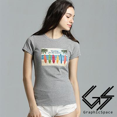 海灘多色衝浪板圖案磨毛水洗T恤 (共二色)-GraphicSpace