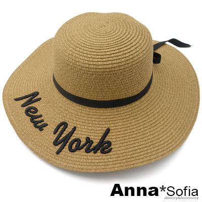 AnnaSofia-NEW-YORK黑綁帶-寬簷防