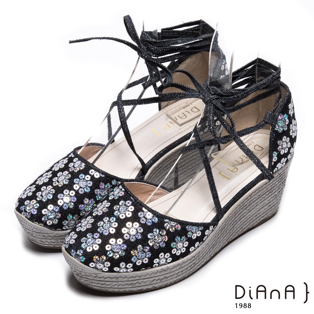 DIANA 夢幻狂想曲--花漾率性丹寧交叉綁帶楔型鞋-黑