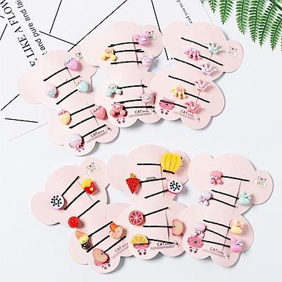 Hera 赫拉 韓版新款兒童髮飾水果兔子髮夾一字夾6件組-4款