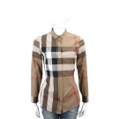 BURBERRY 格紋棉質長袖襯衫(棕色)