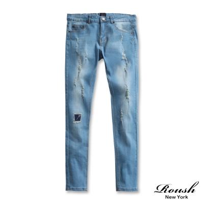 ROUSH-破損水洗刷色淺色彈力牛仔褲
