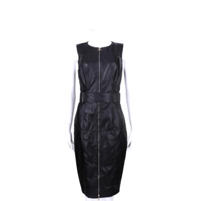 ELISABETTA FRANCHI 黑色仿皮質拉鍊造型無袖洋裝(附腰帶)