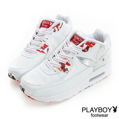 PLAYBOY-潮流遊戲-迷彩元素氣墊休閒鞋-白