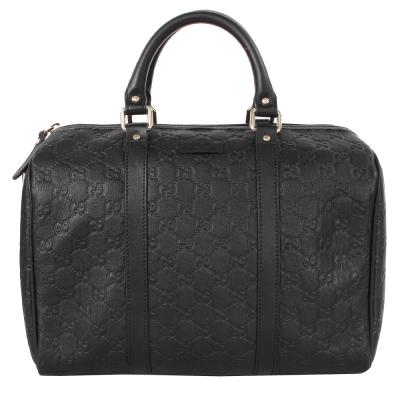 GUCCI-Guccissima-壓紋皮革手提波士頓包-黑-此款無背帶