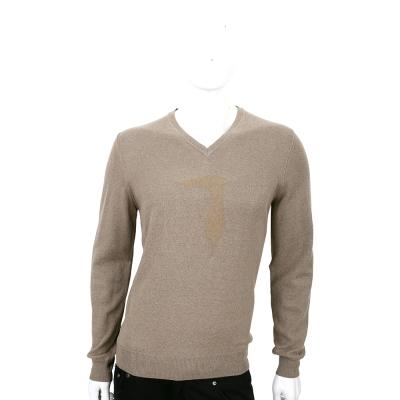TRUSSARDI 淺咖色羊毛浮印圖騰長袖V領上衣(50%WOOL