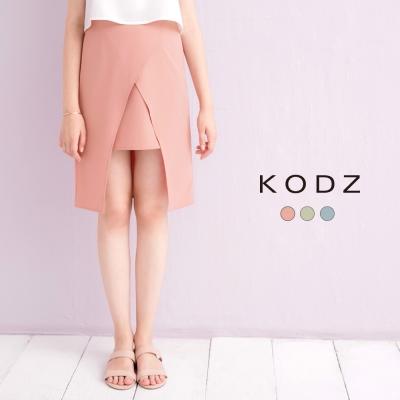東京著衣-KODZ 設計感多色前開衩短裙-S.M.L(共三色)