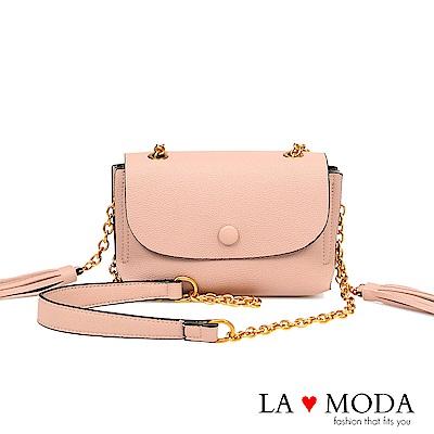La Moda 約會不敗單品軟皮流蘇肩背斜背鍊條包(粉)