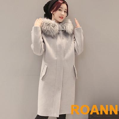 大毛帽單排釦連帽雙面毛呢大衣 (灰色)-ROANN