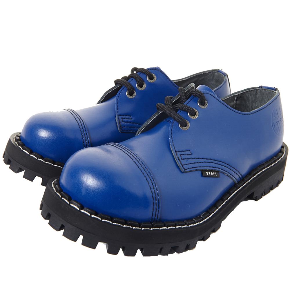 STEEL BOOTS歐洲經典3孔鐵頭鞋-寶藍