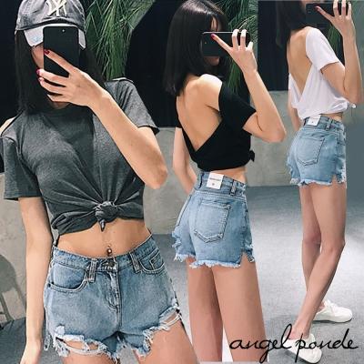 垂感露背素面短袖上衣寬鬆T恤素面打底衫(共三色)-天使波堤