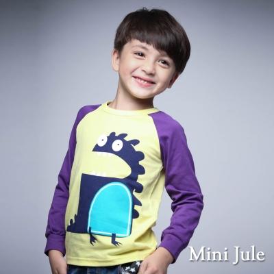 Mini Jule 童裝-上衣 恐龍配色長袖棒球T(黃)