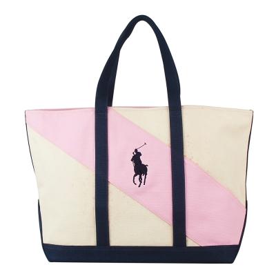POLO 經典戰馬雙配色帆布肩背托特包(大/米白+粉紅)