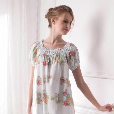 羅絲美睡衣 - 玫瑰花語短袖褲裝睡衣 (粉藍)