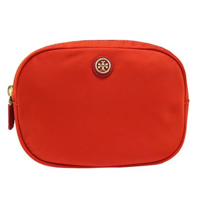 TORY BURCH  雙色雙夾層尼龍萬用/化妝包-橘/暗紅