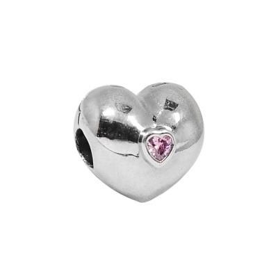 Pandora 潘朵拉 心型粉色鋯石 夾扣式 純銀墜飾 串珠