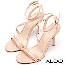 ALDO 原色不對稱窄版繫帶繞踝細高跟涼鞋~氣質裸色