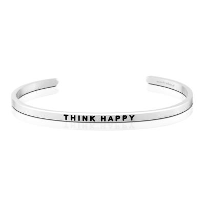MANTRABAND THINK HAPPY 正面思考 正面能量 銀色手環