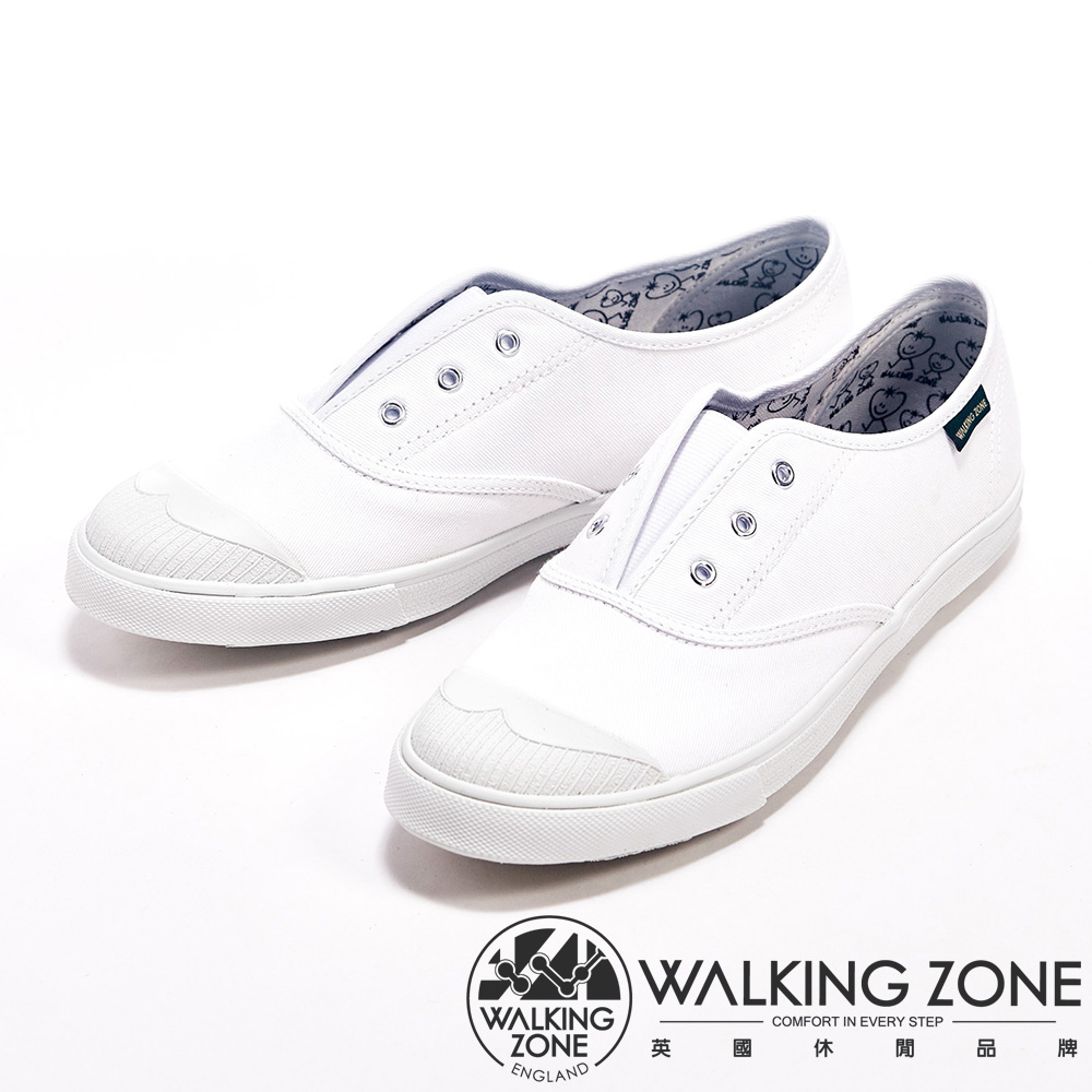 WALKING ZONE 輕盈素面懶人帆布休閒走路鞋女鞋-白