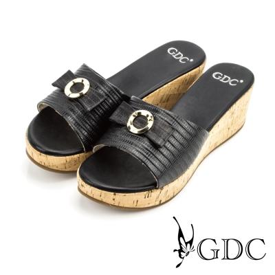 GDC-蝴蝶結裝飾波浪一字厚底拖鞋-黑色