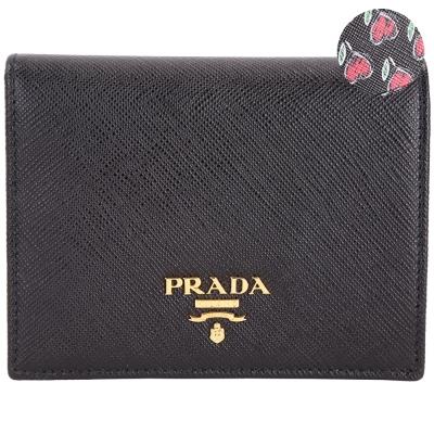 PRADA Saffiano Love 金字防刮牛皮內心印花釦式短夾(黑色)