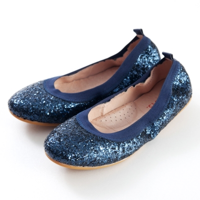 G.Ms.旅行女孩II-亮片鬆緊口可攜式軟Q娃娃鞋(附鞋袋)-高貴藍