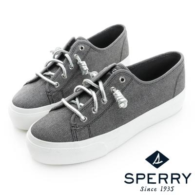 SPERRY 金屬光澤厚底潮流鞋(女)-時尚灰