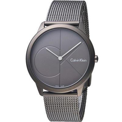 Calvin Klein minimal  大 ck 簡約時尚腕錶-灰/40mm