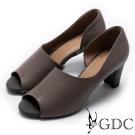 GDC-秋冬款真皮溫柔造型魚口鞋-槍灰色