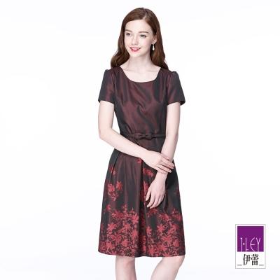 ILEY伊蕾-優雅古典酒紅提花洋裝-紅