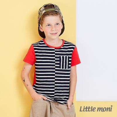 Little moni 美式休閒條紋撞色棉上衣   深藍