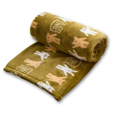 CRAFTHOLIC 宇宙人 揮揮手軍綠色小毛毯