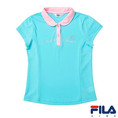 FILA KIDS 女童抗UV吸濕排汗POLO衫-薄荷5POS-4320-MT
