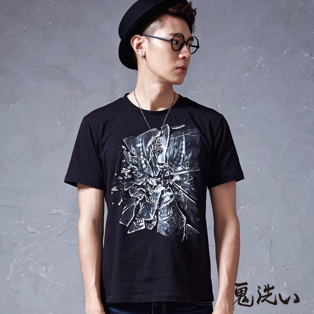 鬼洗 BLUE WAY 玻璃裂紋爆裂鬼短袖T恤-黑
