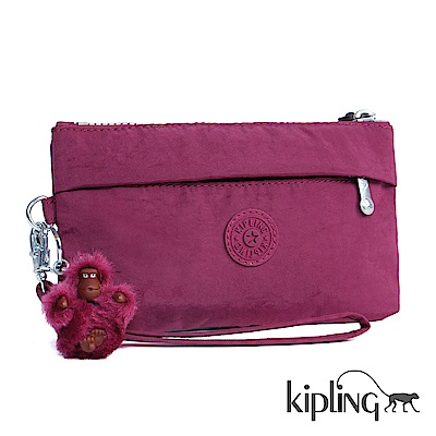 Kipling 掛繩手拿包 莓紫素面-小
