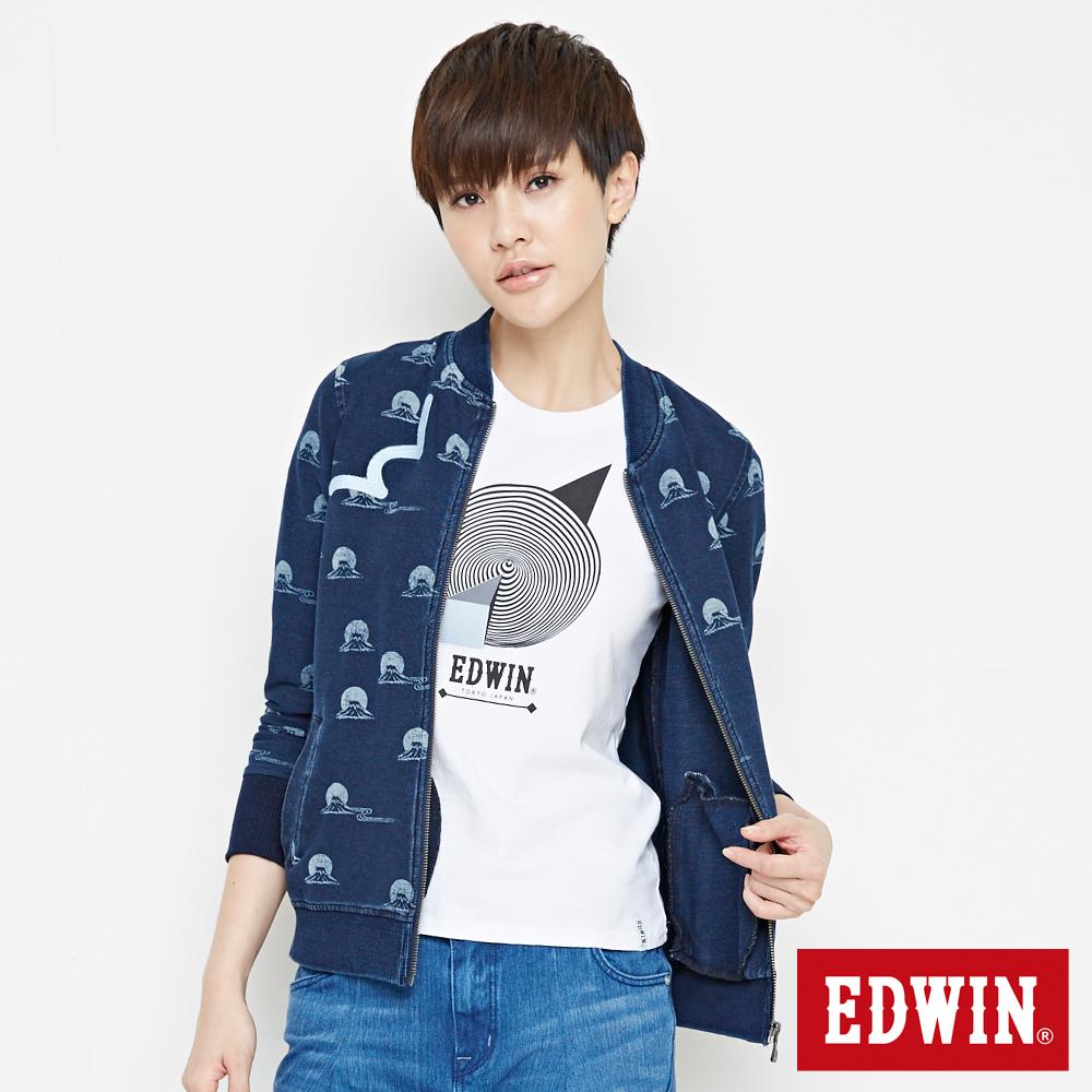 EDWIN 江戶勝 INDIGO W富士山長袖拉鍊T恤-中性-酵洗藍