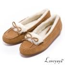 Loveyaya- 禦寒暖毛羊麂皮按摩豆豆莫卡辛鞋 - 棕
