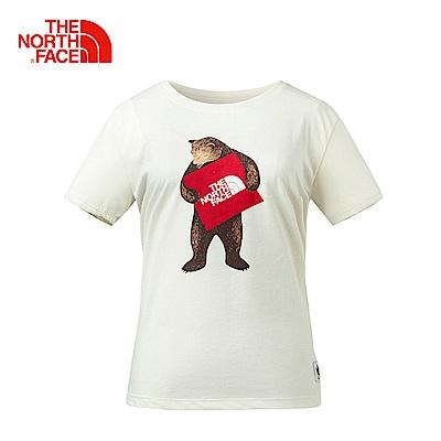 The North Face北面女款白色舒適休閒短袖T恤