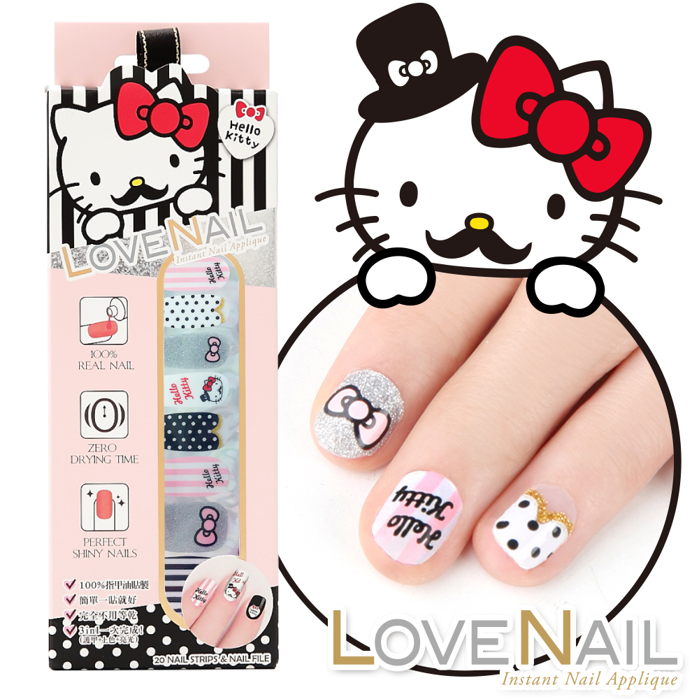 Hello Kitty x LOVE NAIL 限定版指甲油貼 淑女紳士條紋